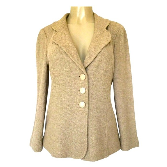 St John Beige Boucle Knit Jacket Coat Tan Long
